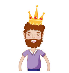 Nice man with beard style and crown vector