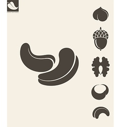 Nuts Icon set Hazelnut Cashews Walnut vector image