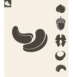 Nuts Icon set Hazelnut Cashews Walnut vector image