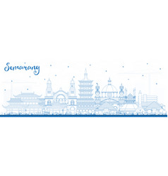 Outline semarang indonesia city skyline with blue vector