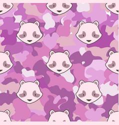 Panda bear cute camouflage animal seamless pattern vector