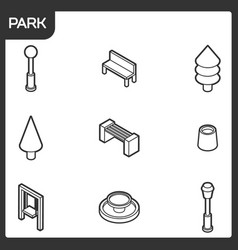 park outline isometric icons vector image