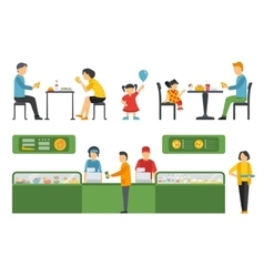 People in a Pizzeria Restaurant interior flat vector image