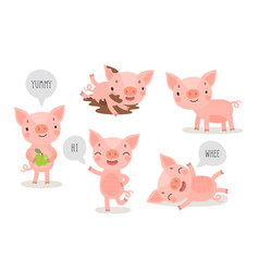 Pigs hand drawn style cute funny characters vector