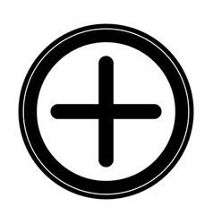 Plus icon in circle in black silhouette with thick vector
