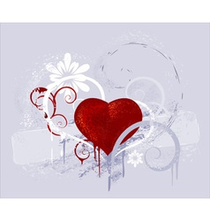 Red heart on a grey background vector
