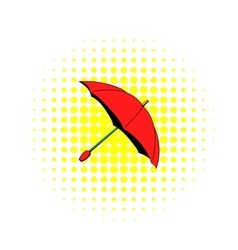 Red umbrella icon comics style vector