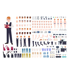 Redhead pupil animation or diy kit collection of vector