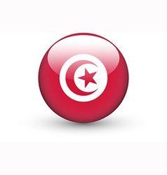 Round icon with national flag of Tunisia vector