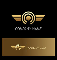 Round wing optic gold logo vector