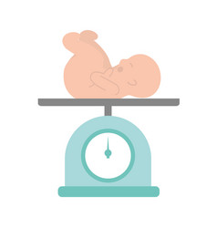 Scale with baby isolated icon vector