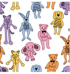 seamless background of the plush toys vector image