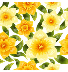 Seamless background with yellow daffodil narcissus vector