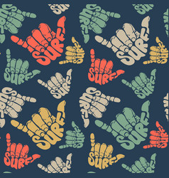 seamless pattern surfing hand sign vector image