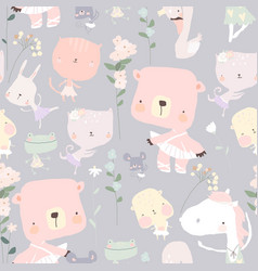 seamless pattern with funny little animals vector image
