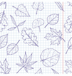 Seamless pattern with sketch leaves on squared vector