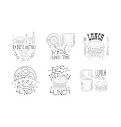 set 6 hand drawn lunch menu emblems vector image