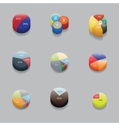 Set of 3D pie charts business items and stats vector