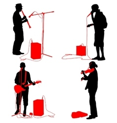 Set silhouettes musicians playing musical vector