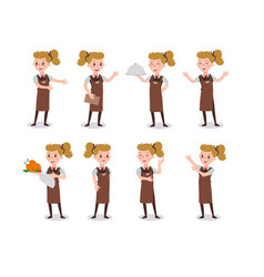 set woman waiter wearing uniform holding a vector image