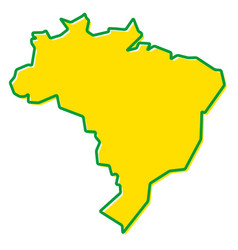 Simplified map of brazil outline fill and stroke vector