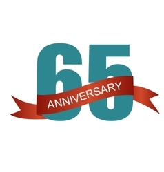 Sixty Five 65 Years Anniversary Label Sign for vector