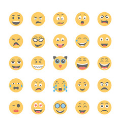 Smiley flat icons set 7 vector