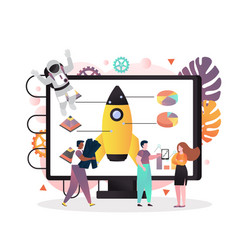 Space technologies concept for web banner vector