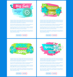 spring sale vouchers blooming flowers web pages vector image