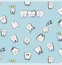 Teeth pattern tooth dental cartoon kids vector