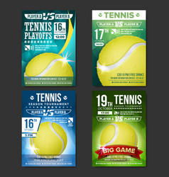 Tennis poster set design for sport bar vector