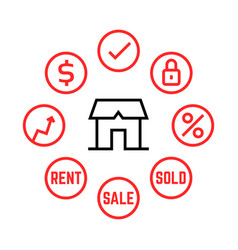 thin line real estate agency icons vector image