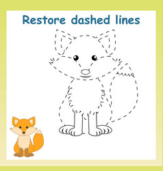 Trace game for childrencartoon fox restore vector