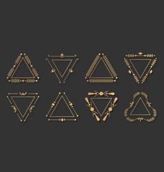 Trigonal gold line frame vintage border set vector