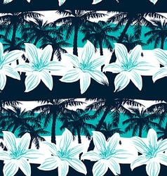 Tropical frangipani with palms and stripes vector image