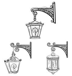 Vintage street lanterns contours vector