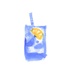 water with lemon cocktail colorful hand drawn vector image