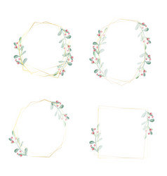 watercolor christmas berry wreath with golden vector image