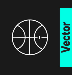 white line basketball ball icon isolated on black vector image