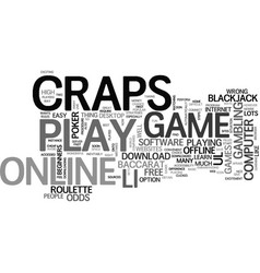 Why not play craps online text word cloud concept vector