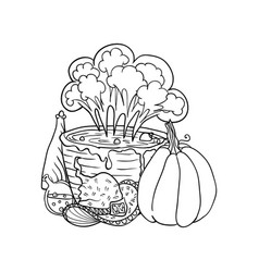 witch hat near vat with poison poison and pumpkin vector image