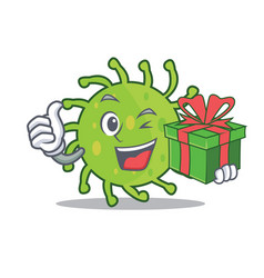 with gift green bacteria mascot cartoon vector image vector image