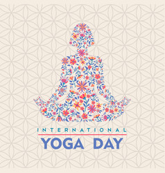 Yoga day card flower woman in lotus pose vector