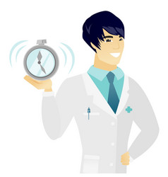 young asian doctor holding alarm clock vector image