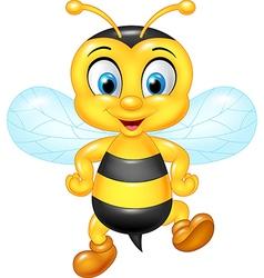 Cartoon funny bee posing isolated vector image vector image