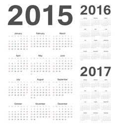 European 2015 2016 2017 year calendars vector image vector image