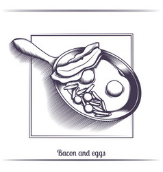 fried eggs with bacon in a frying pan black vector image