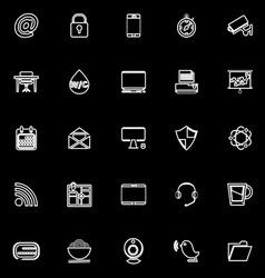 Internet cafe line icons on black background vector image vector image