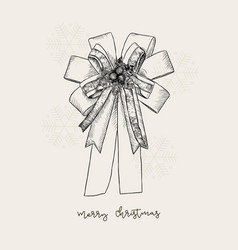 ribbon christmas concept hand draw sketch gift vector image vector image