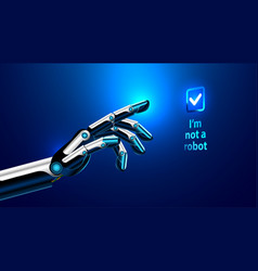 robot arm presses the button on the vector image vector image